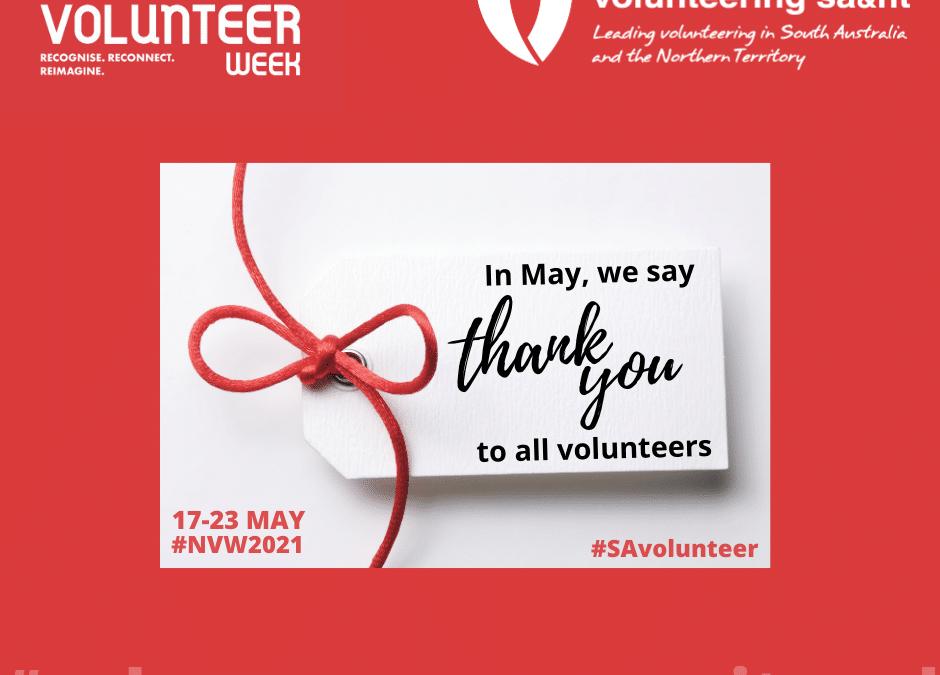 National Volunteer Week is 17 – 23 May 2021