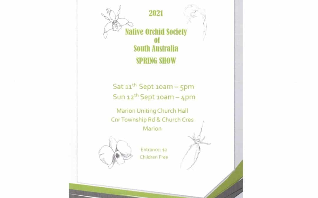 Native Orchid Society Spring Show is approaching: Sept 10 – 11th